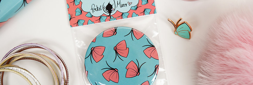 Butterfly-Bow Pocket Mirror + Free Perky Painter Small Cotton Drawstring Bag