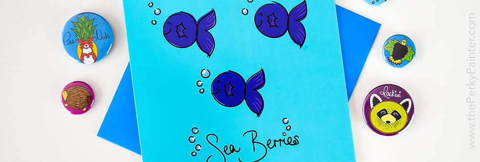 Sea Berries Blank Greeting Card
