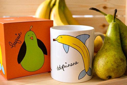 Pearguin & Dolphinana Fruinimal Mug