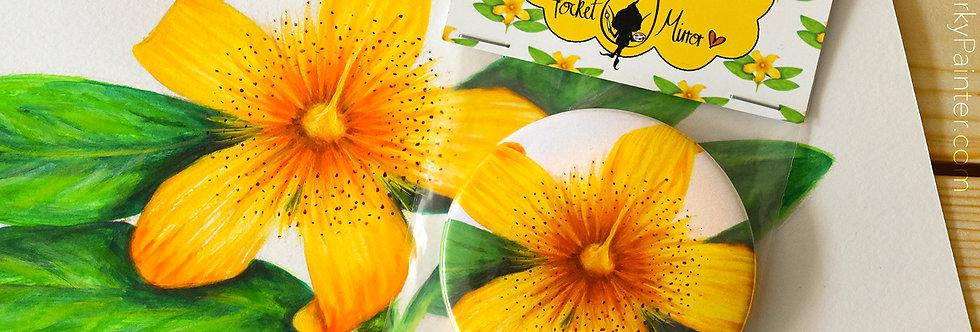 Flower Painting Pocket Mirror+ Free Small Cotton Drawstring Bag