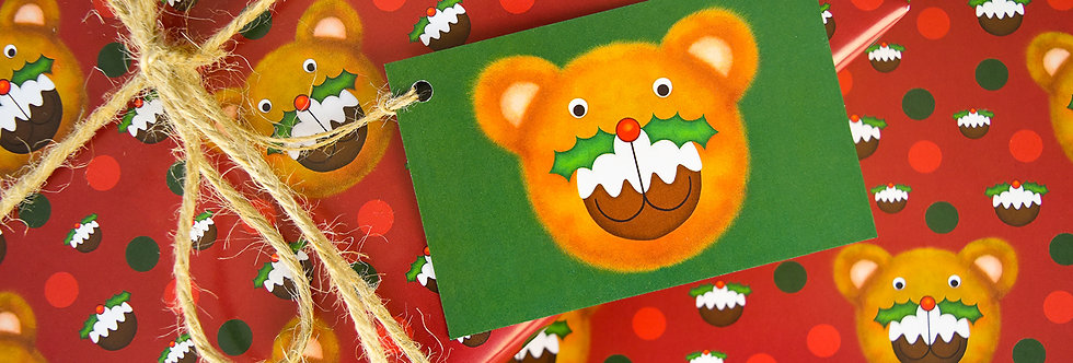 Puddington Bear Gift Wrap Pack - Red
