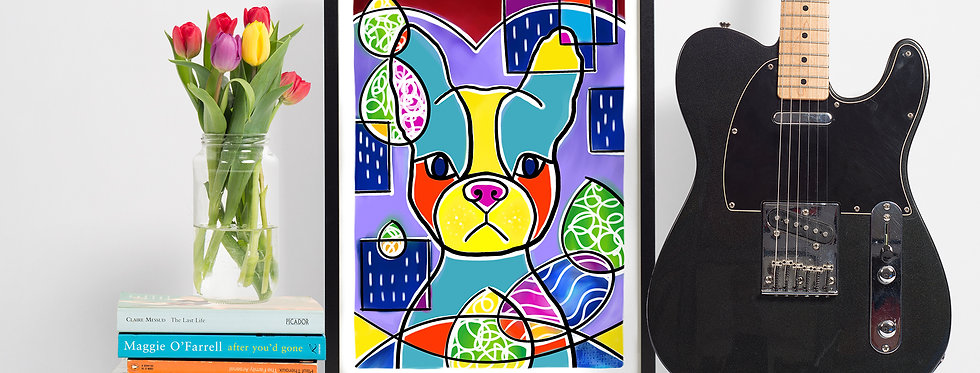 'It's OK' Frenchie Abstract Giclee Print (A4)