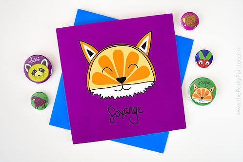 Foxange Blank Greeting Card
