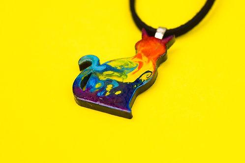 Rainbow Cat Necklace, Unique Painted Kitty Pendant