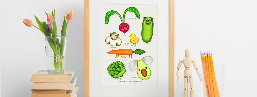 Vegetimals Giclee Print (A4) Puckle & friends