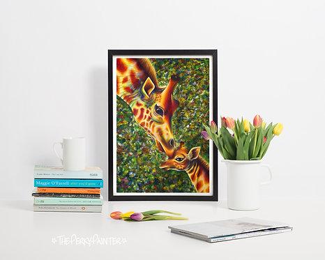 """Giraffes """"A Mother's Love"""" A4 Print"""