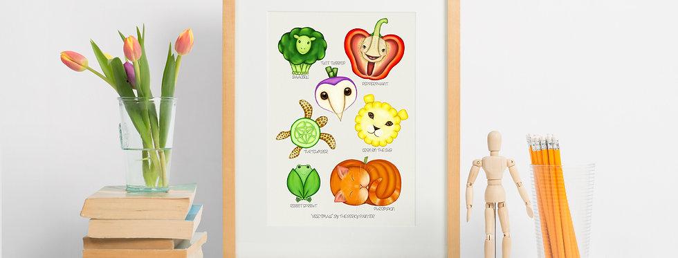 Vegetimals Giclee Print (A4) Pepperphant & friends