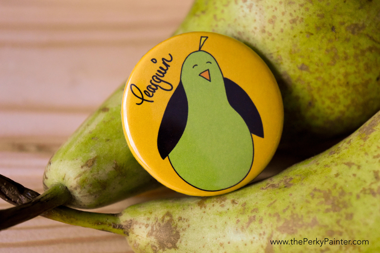www.thePerkyPainter.com Fruinimal Fridge Magnet Pearguin