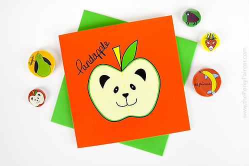 Pandapple Blank Greeting Card