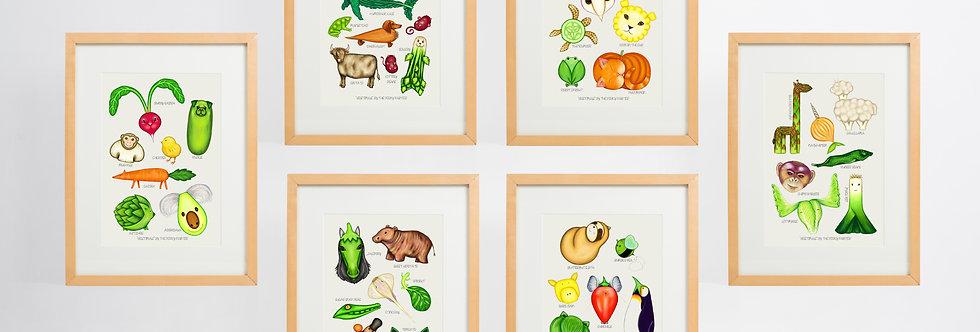 Vegetimals Giclee Print Set (A4)
