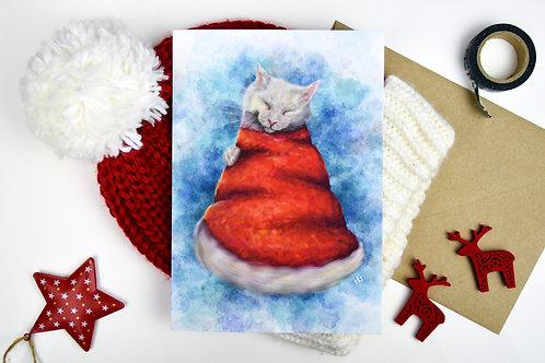 Santa Claws Hat Large Christmas Card