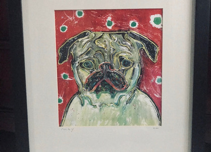 #26 Pug Lithograph Framed Artwork