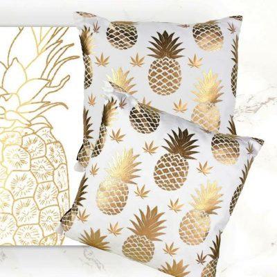 Golden Pineapple Cannabis Leaf Pillow