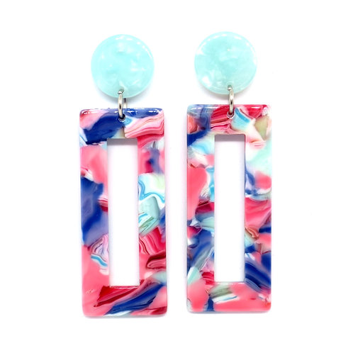 Multi Pink Rectangle Earrings on Aqua Posts