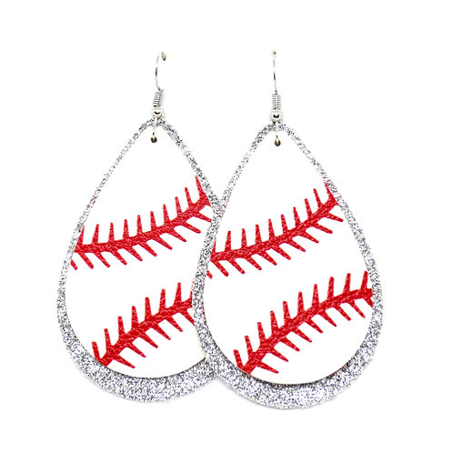 Layered Baseball Teardrops with Thick Stitches - Personalize Your Team Color!
