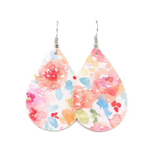 Classic Teardrop in Pink and Peach Watercolor Floral