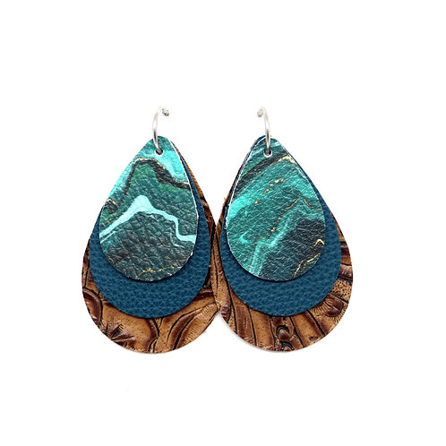 Interchangeable Teal Agate  - CHOOSE YOUR SHAPE