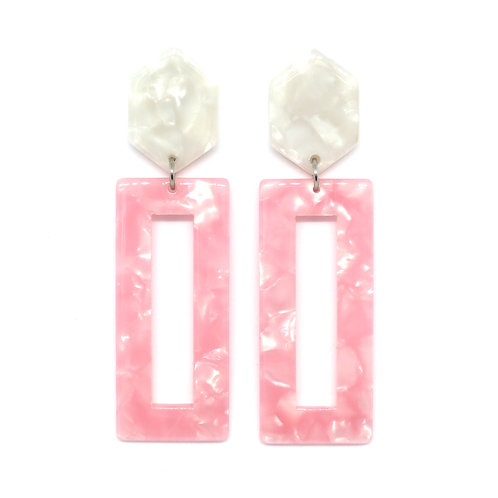 Pink Rectangle Earrings on Hexagon Pearl Posts