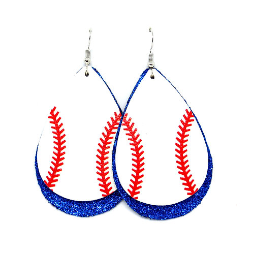 Layered Baseball Teardrops with Thin Stitches - Personalize Your Team Color!