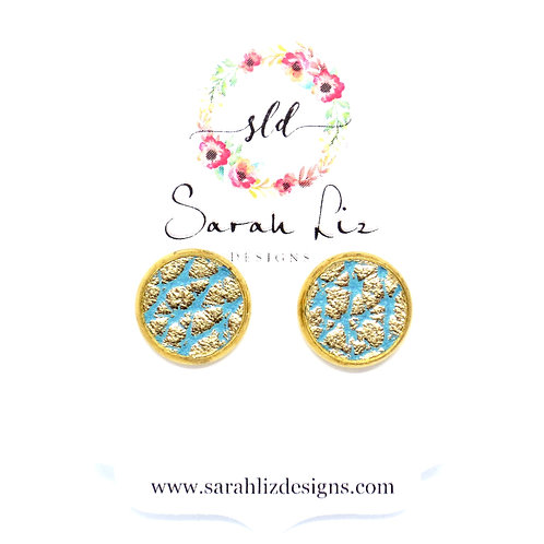 Studs in Gold Speckled Mint