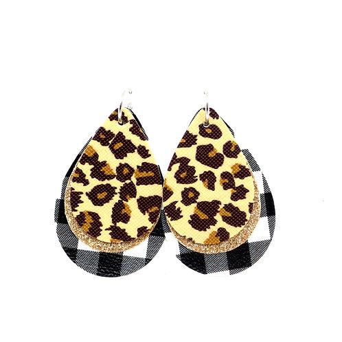 9-in-1 Earrings - Black Buffalo Plaid - Christmas Tree, Cross, or Deer