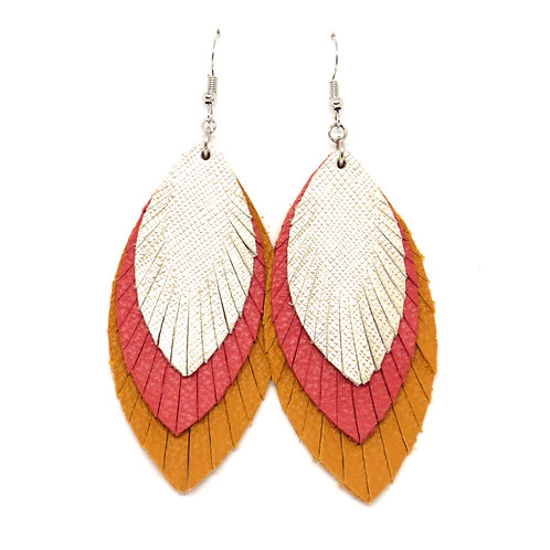 Layered Sassy Feathers in Camel/Salmon/Platinum