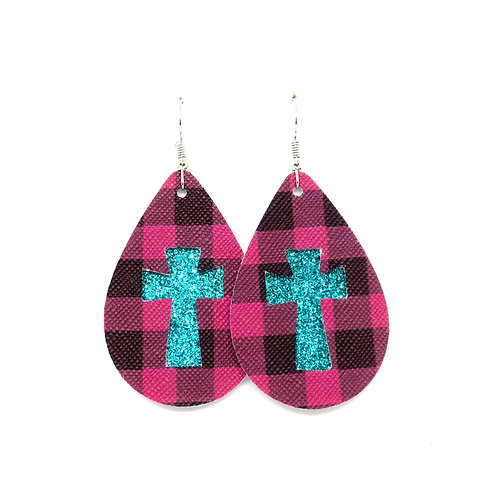 Cross Cutout Classic Teardrop in Magenta Plaid and Teal Glitter