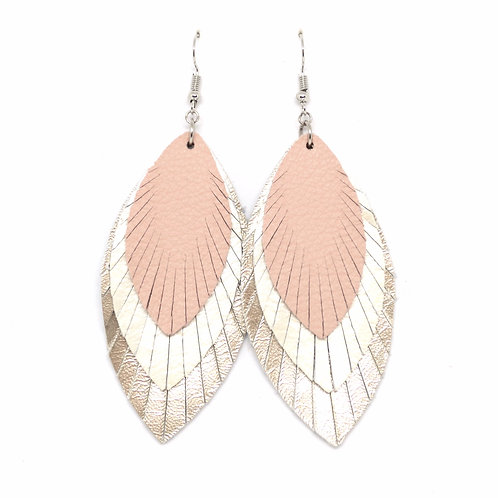 Layered Sassy Feathers in Blush/Pearl/Platinum