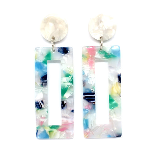 Multi Pastel Rectangle Earrings on White Pearl Posts