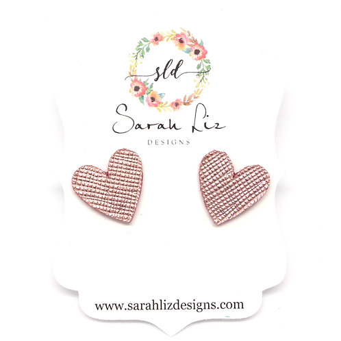 Heart Studs in Metallic Rose Gold - Amore Collection