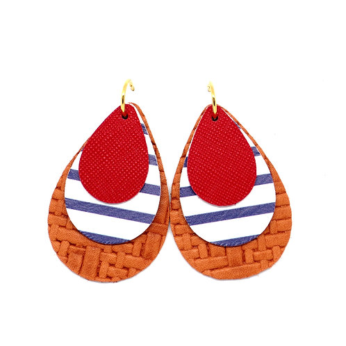 9-in-1 Earrings - Navy Stripe and Red