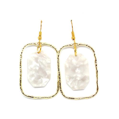 Rectangle Hoop Earrings with Pearl Hexagon
