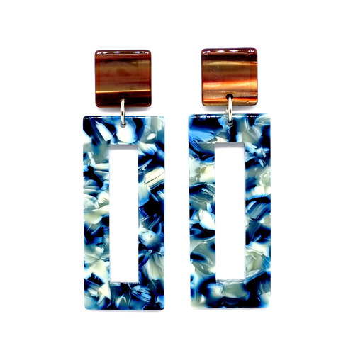 Multi Blue Rectangle Earrings on Brown Square Posts