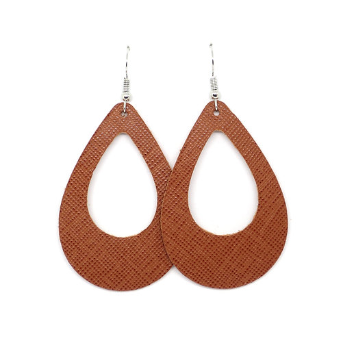 Cutout Teardrop in Ginger Saffiano