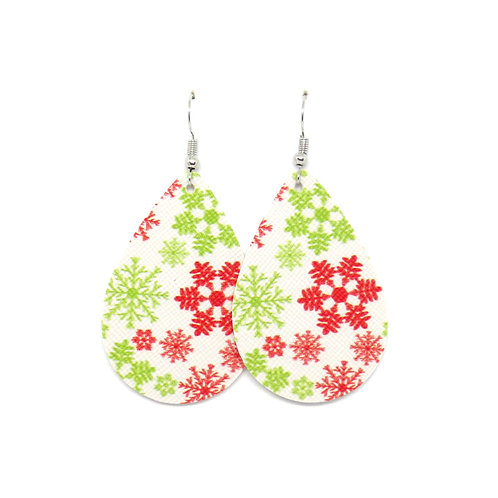 Classic Teardrop in Red & Green Snowflakes