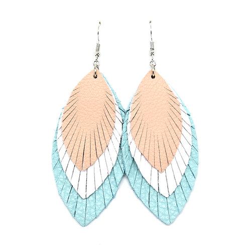 Layered Sassy Feathers in Blush/White/Aqua