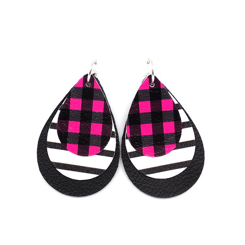 Interchangeable Leather Earrings - Pink Plaid - CHOOSE YOUR SHAPE