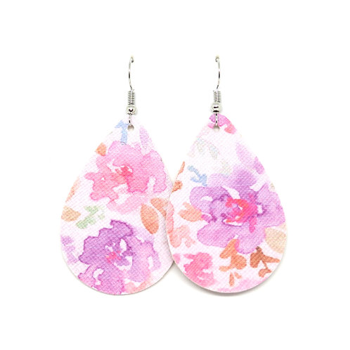 Classic Teardrop in Purple and Pink Watercolor Floral