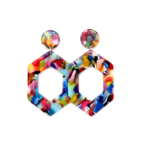 Multi-Colored Hexagon Hoops on Multi-Colored Studs
