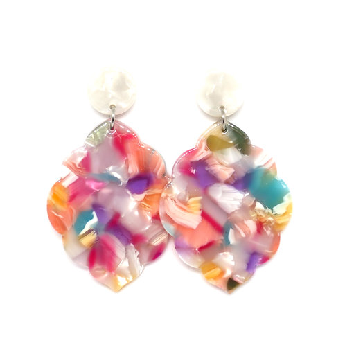Moroccan Acrylic Earrings on Pearl White Posts