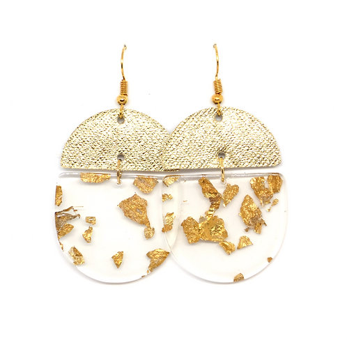 Crescent Leather Earrings in Gold