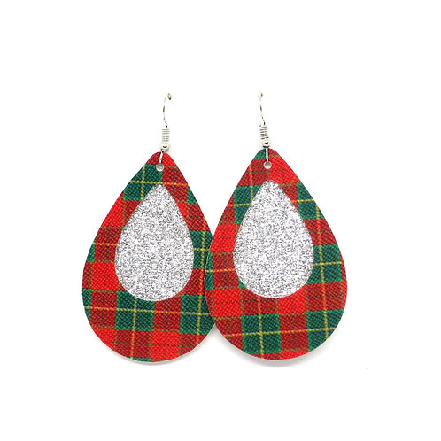 Cutout Classic Teardrop in Christmas Plaid and Silver Glitter