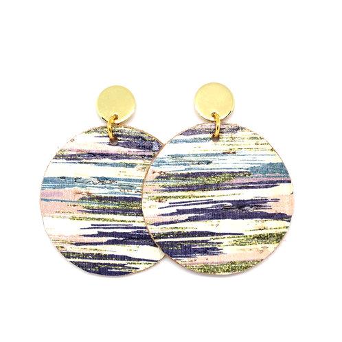 Striped Cork Earrings on Gold Studs
