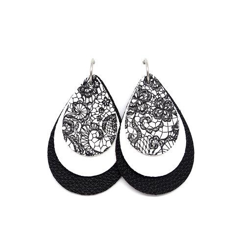 Interchangeable Black & White Lace  - CHOOSE YOUR SHAPE