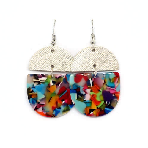 Crescent Leather Earrings in Rainbow and Platinum