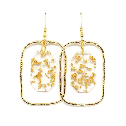 Rectangle Hoop Earrings with Gold Foil Hexagon