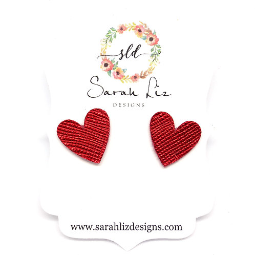 Heart Studs in Metallic Red - Amore Collection