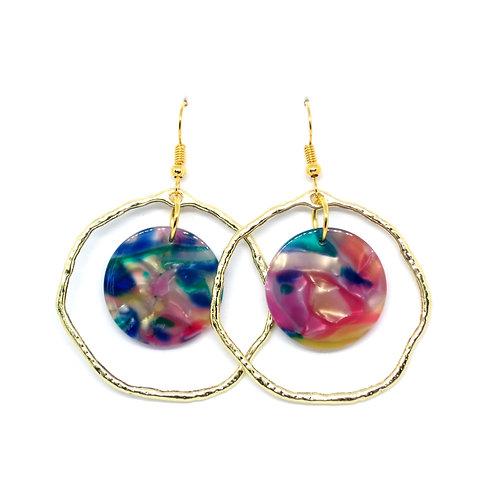 Round Hoop Earrings with Multicolor