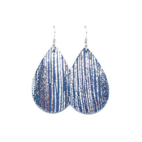 Blue Metallic Stripe - CHOOSE TEARDROP OR PETAL