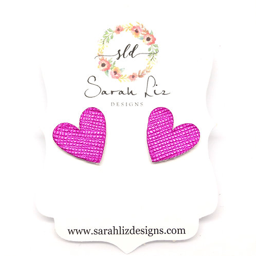 Heart Studs in Metallic Fuchsia - Amore Collection